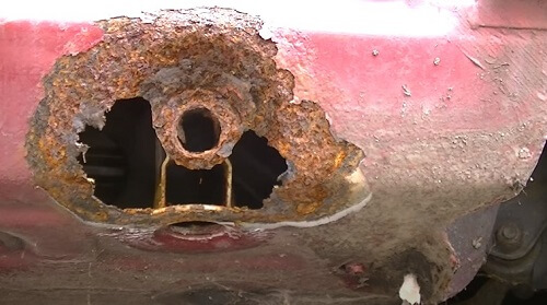 Rust Hole on Structure Area of Car